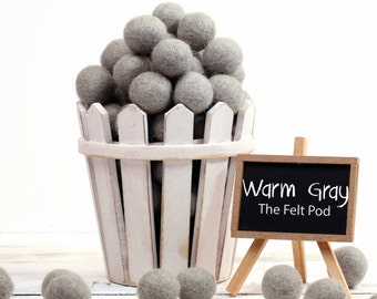 Felt Balls // DIY Garland // diy Mobile // diy Necklace // Felt Poms // Wool Beads // WARM GRAY // 1 cm 1.5 cm 2 cm 2.5 cm 3 cm 4 cm