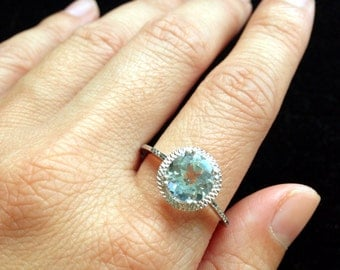 ONLY One Available White Gold Aquamarine Ring