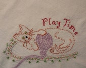 Flour sack Dishtowel - Cat - Playing