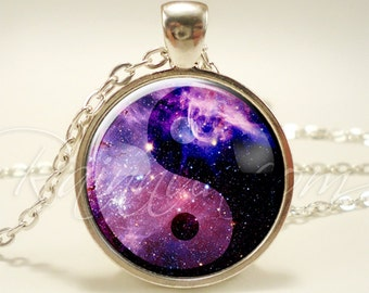 Soft Grunge Yin Yang Nebula Necklace, Indie Galaxy Pendant, Cosmic Hipster Jewelry (1996S1IN)