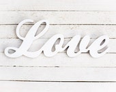 Love white wood sign wedding decor script distressed home decoration custom freestanding letters design wood word sweetheart table any color