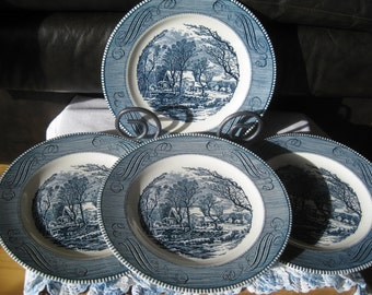 Currier and Ives Old Grist Mill dinner plates Very good   Set of Four (two sets available)