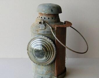 Antique railway lantern Warning lamp Railway light Railroad signal lamp Vintage home decor Industrial decor