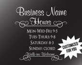 Business Hours Decal - Storefront Window Business Hours Decal Walk-Ins Customized for Business Elegant Salon Boutique Business Hours Sticker