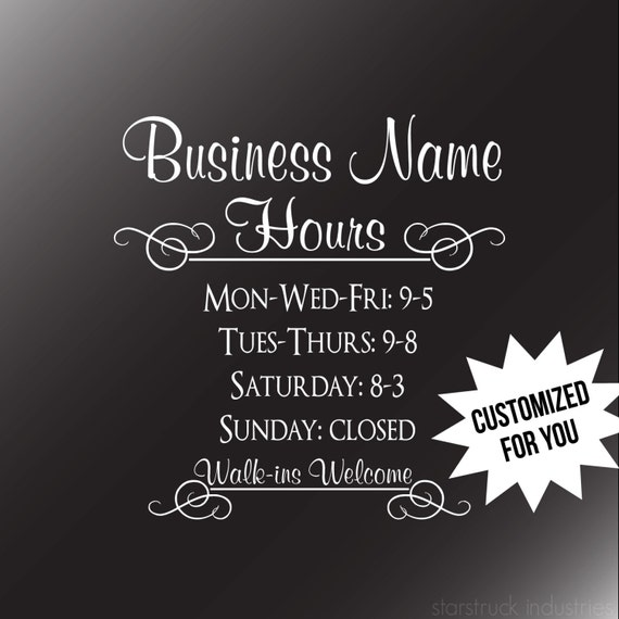 Business Hours Decal Storefront Window Business Hours Decal - Window stickers for business hours