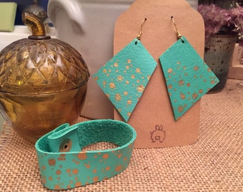 leather earrings deep mint and gold hand painted bracelet set