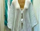 White Robe Kimono Caftan Knee, Midi or Maxi Kimono Meditation Ceremony Cover Up Womens One Size Cotton