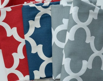 Fabric Scraps Bundle - Fynn Quatrefoil in Timberwolf Red, Cadet Blue Cool Grey, Premier Prints Home Decor, Remnants Cuts