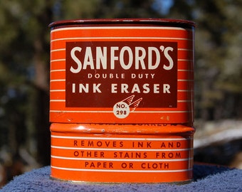 Antique Sanfords INK eraser - 2 Antique Ink BOTTLES in a Colorful antique TIN - Old and all-original.