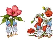 Clip Art: TWO Drawings of Little Gnome Girls, Flowers, Whimsical Fantasy Art, Commercial Use, Instant Download, jpg file and gif file