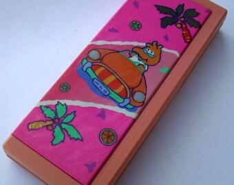 Funny Bird Pencil Box. 80s Flomo Pencil Case. Pink Vinyl Padded Pencil Case.Kawaii Summer. Driving. Palm Trees. MTO, VC, Blossom