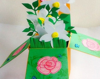 Hand made cards: Pop Up box card - Congratulations - Mother's Day - Birthday cards - Thank  you - Anniversary