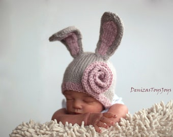 New Born Baby Bunny Hat Knitting Pattern. Children Clothing. Hand Knitted Baby Hat. Instruction.