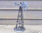 Windmill Metal Sculpture Barbed Wire Art Yard Art Garden Art Rustic Found Objects