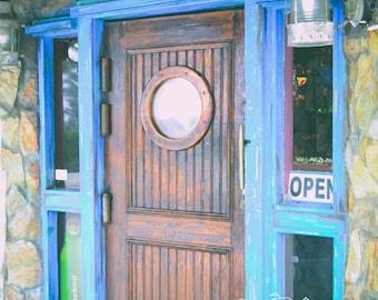 Door's Open Print - Blue - Nautical - Port Hole - Wood - Structure - Photograph - Wall Art