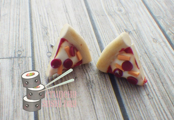 Pizza Earrings ONLY, Polymer Clay Earrings, Polymer Clay Charm, Food, Polymer Clay, Polymer clay jewelry, Kawaii, Chibi