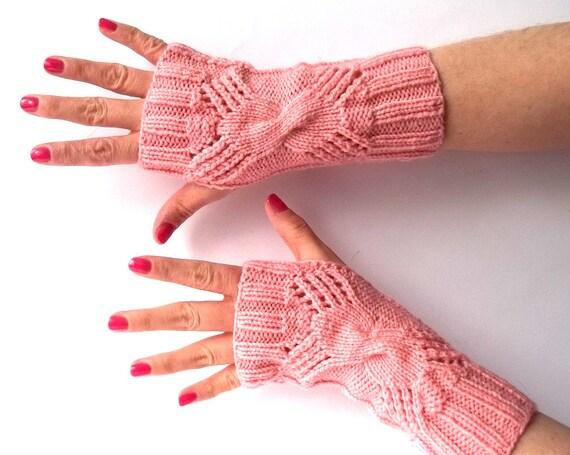 SALE - 50%OFF. Pink Knit Fingerless Gloves. Knitted Fingerless Mittens. Pink Gloves. Driving Gloves. Hand Knit Gloves. Winter Gloves.