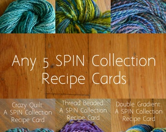SPIN Spinning Recipe Bundle of 5 - Roving (Combed Top) + Batt (Spinning Batt) Tutorial - Handspinning Pattern