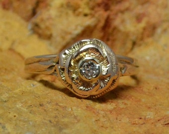 Rose Gold Flower Ring // Solitaire Diamond Vintage Engagement Ring // Delicate Petal and Vine Natural Wedding Ring