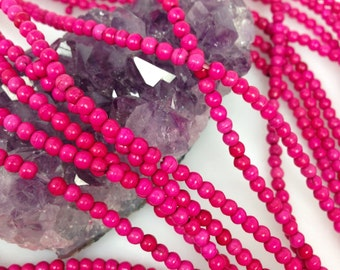 Lot of 5 strands 3mm Hot Pink Howlite Turquoise Loose Spacer Beads Round 15.5 inch strand (BH5462)