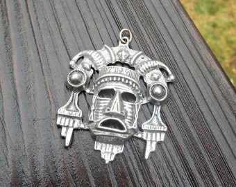 Vintage 70s Aztec Mayan Tribal Mask Pendant in Pewter Dead Stock