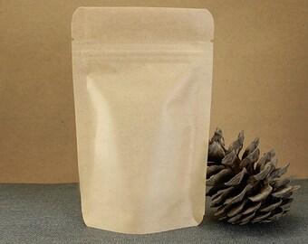 Kraft paper zip lock bag 10pc Stand up wedding favor bag Cofee kraft bag Zip lock tea bag Food packaging Kraft zipper pouch