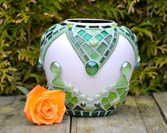 Green glass and ceramic mosaic vase.
