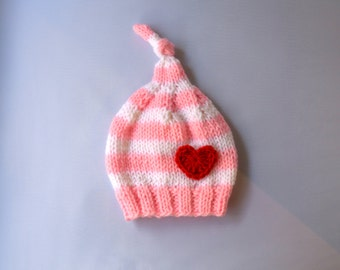 Knotted Baby Knit Hat, Knit Baby Valentines Hat, Knit Newborn Baby Hat, Baby Photo Prop, Baby Girl Knit Hat