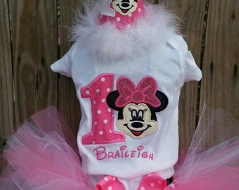 Minnie mouse birthday shirt or onesie and matching tutu.