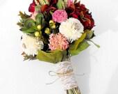 Dried Flower Bouquet-Silk Flower Wedding Bouquet-Bridal Bouquet-Peony Bouquet-Alternative Wedding Bouquet-Summer Wedding-MARSALA Collection