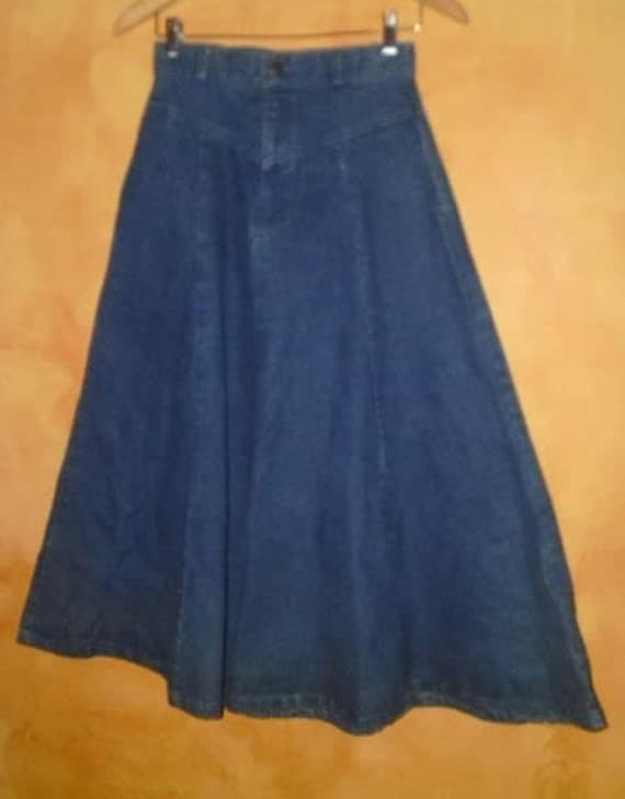 70s high waist denim western wear skirt 26 by sundustvintage