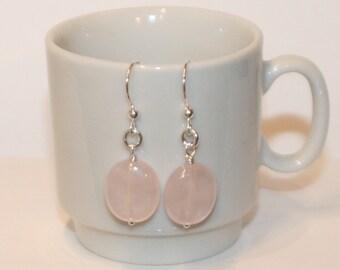 Lovely Rose Quartz and Sterling Silver Dangle Earrings