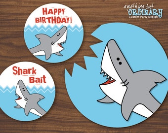 Shark Bite Wall Signs, Rectangle and Round Birthday Signs, Cake Toppers, INSTANT DOWNLOAD, digital printable file
