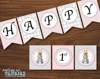 Peter Rabbit Birthday Banner in pink and gray, DIY Banner, INSTANT DOWNLOAD printable digital file
