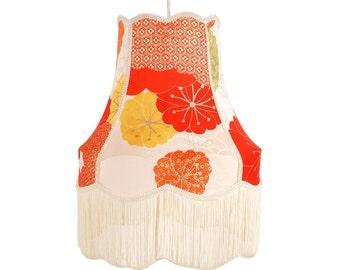 Medium/Large Long Fringe Colourful Pendant Lampshade - by Kimono Lamps - Floral Delight