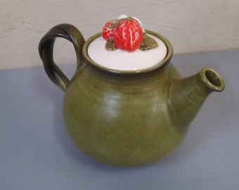 Vintage Green and Strawberry Teapot
