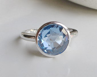 Swiss Blue Topaz Ring- Quartz Ring- Blue Gemstone Ring- Birthstone Ring- Promise Ring- Ring with Stone- Something Blue- Blue Ring