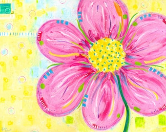 PINK FIESTA FLOWER, Art Print, Child, Teen, Adult Wall Decor, Single Graphic Flower, Festive, Magenta to Pink on Yellow Background