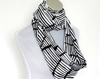 Black and White Striped Infinity Scarf, Cotton White Striped Scarf, Summer Scarf Women's Scarves, Gift Ideas, For Her For Mom, Fairywomen