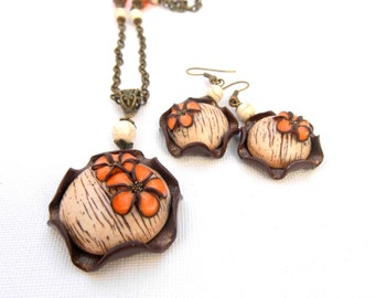 Flower Jewelry Set Brown Jewelry Handmade Jewelry  Flower Earrings Flower Pendant Fall Jewelry Polymer Jewelry Flowers Gift For Her