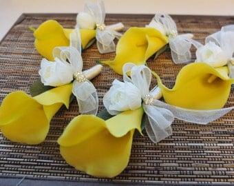 Boutonniere, Yellow Calla Lily Boutonniere, Yellow Calla Lily Corsage