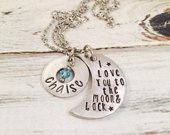 Moon Personalized Necklace 'I Love you to the moon and back' - Mommy Necklace, Mother's Day, gift for grandmother