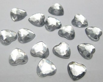 50 Piece Clear Silver 10mm Faceted Flatback Acrylic Heart Rhinestone Cabochons WHOLESALE
