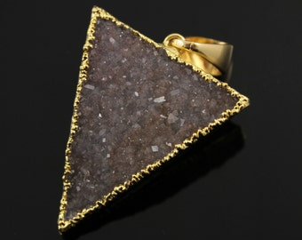Large Druzy Triangle Pendant in Stunning Earth Tones, Heavy Gold Plated, 29x33mm, A+ Gorgeous Quality, Electroplated Edge (DZY/TRI/114)