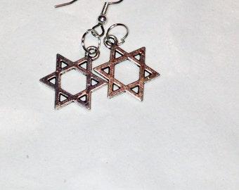 Star of David Earrings in Sterling Silver Handmade Jewelry