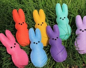 Peep bunny ornaments-Felt peep ornaments-Colorful set of Peep rabbits-set of 7-Easter decor-Spring decor-bunny rabbits-kids decor-party