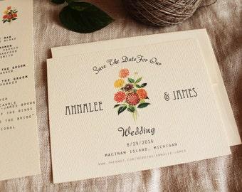 Dahlia - Zinnia Save The Date Wedding Printable or Ship