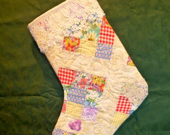 Authentic feedsack fabrics from cutter quilt to made gorgeous stockings