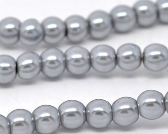 Gray Glass Pearl Round Beads 8mm, 1 strand of 105-110 beads