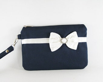 SUPER SALE - Navy with Little Ivory Satin Bow Clutch - Rhinestone Bridal Clutch, Bridesmaid Wristlet, Wedding Gift - Made To Order